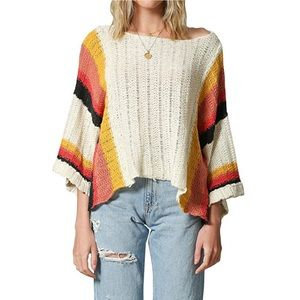 ANTHRO By Together Knit Crop Stripe Bell Sweater M
